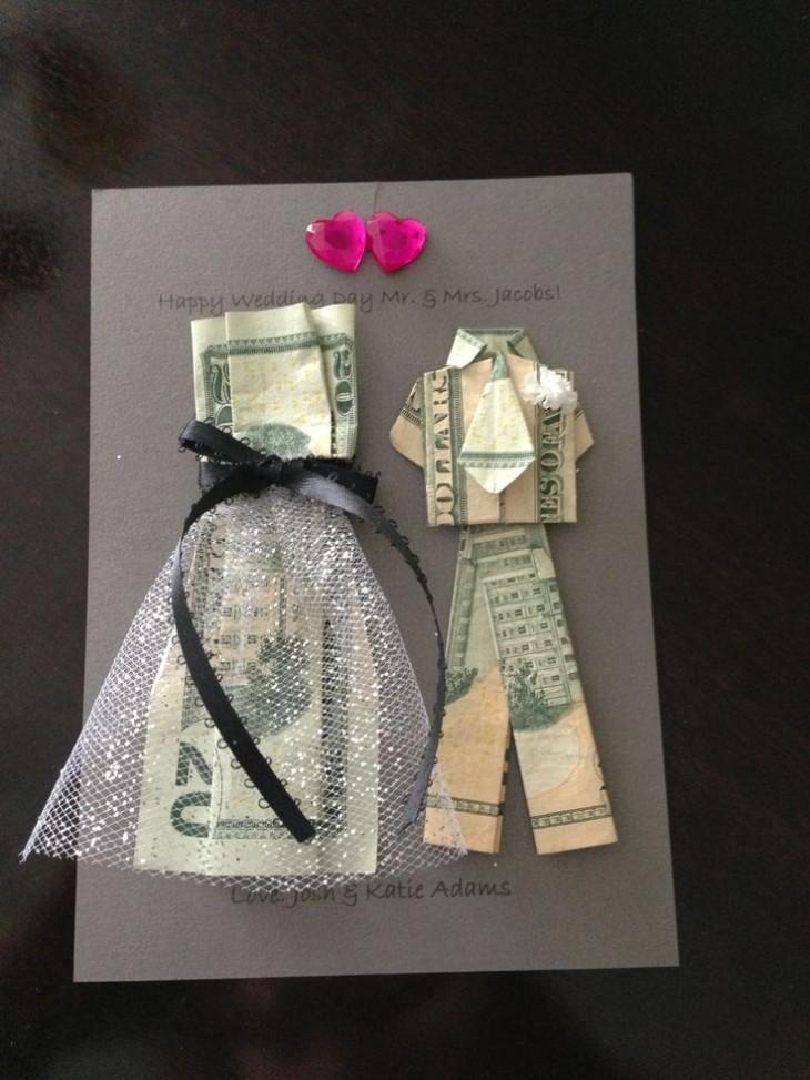 zabawna kartka z pieniędzmi na ślub