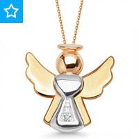 Złoty medalik z diamentem aniołek